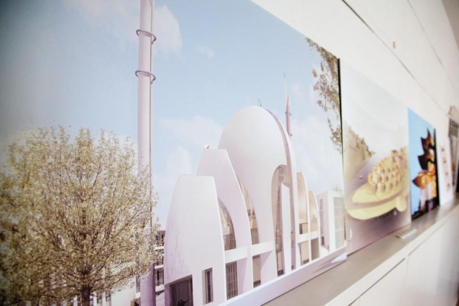 Zeichnung der Moschee im Büro des Architekten